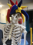 Dave - a model skeleton wearing a jester's hat.